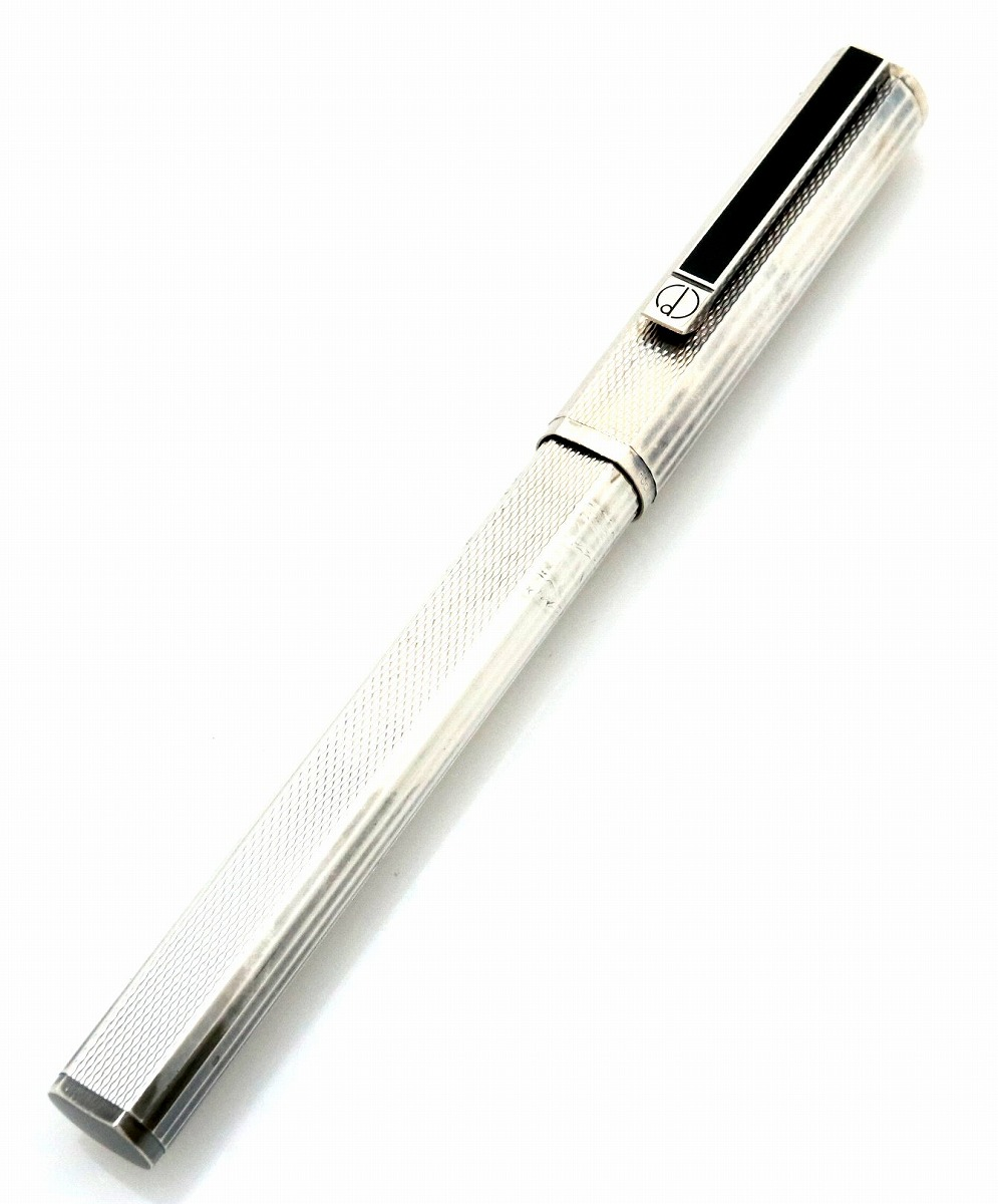 dunhill ダンヒル 万年筆 ペン先K18 シルバー インクなし カートリッジ式 【中古】