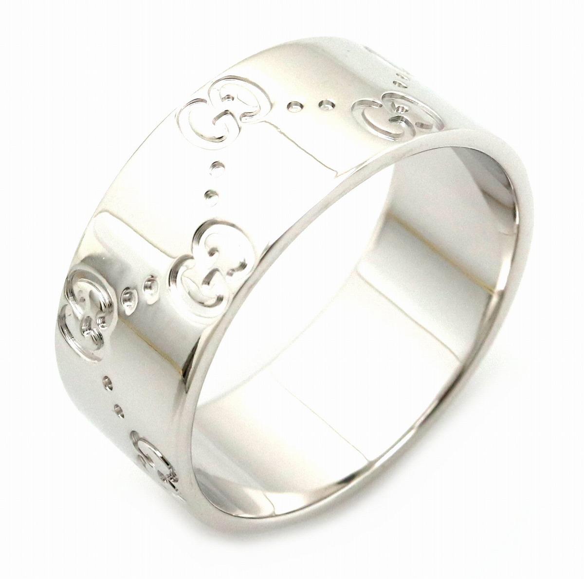 【ジュエリー】【新品仕上げ済】GUCCI グッチ アイコンリング ワイド メンズ GGリング 指輪 K18WG 750WG ホワイトゴールド 23号 #23 【中古】【s】