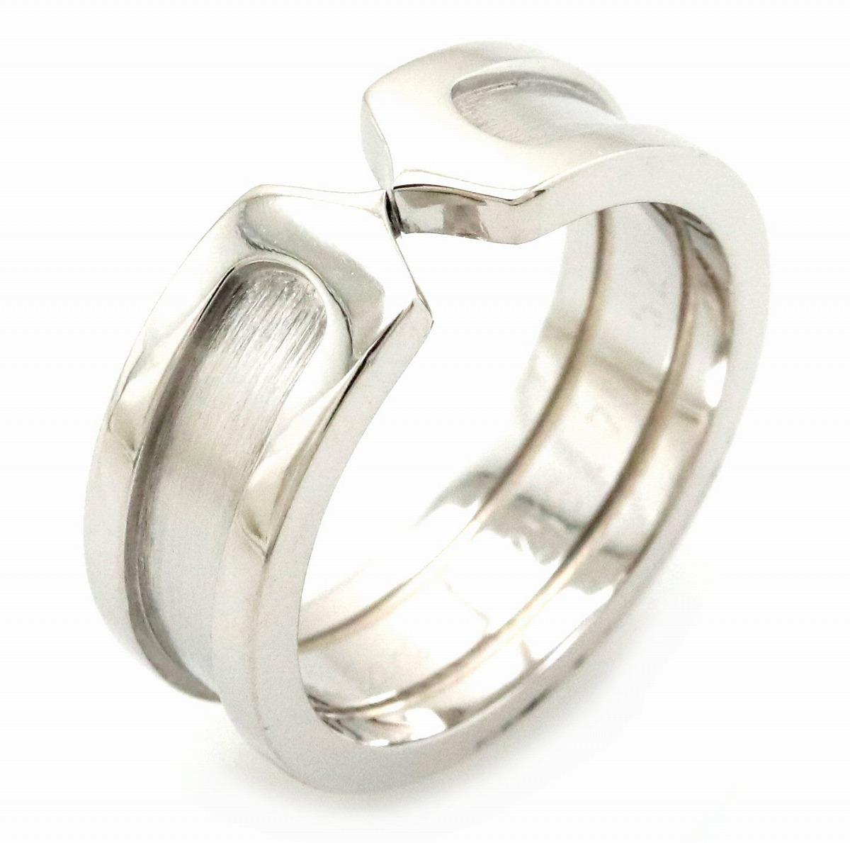 【ジュエリー】【新品仕上げ済】Cartier カルティエ 2C ロゴ モチーフ C2リング SM 指輪 K18WG ホワイトゴールド 12号 #52 B4040500 【中古】【s】