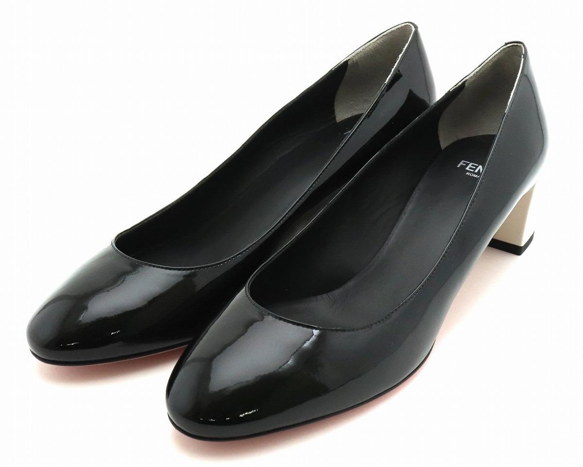 【未使用品】【靴】FENDI フェンディ パンプス ヒール パテントレザー ブラック 黒 ホワイト 白 ピンク #37 23.5cm 【中古】