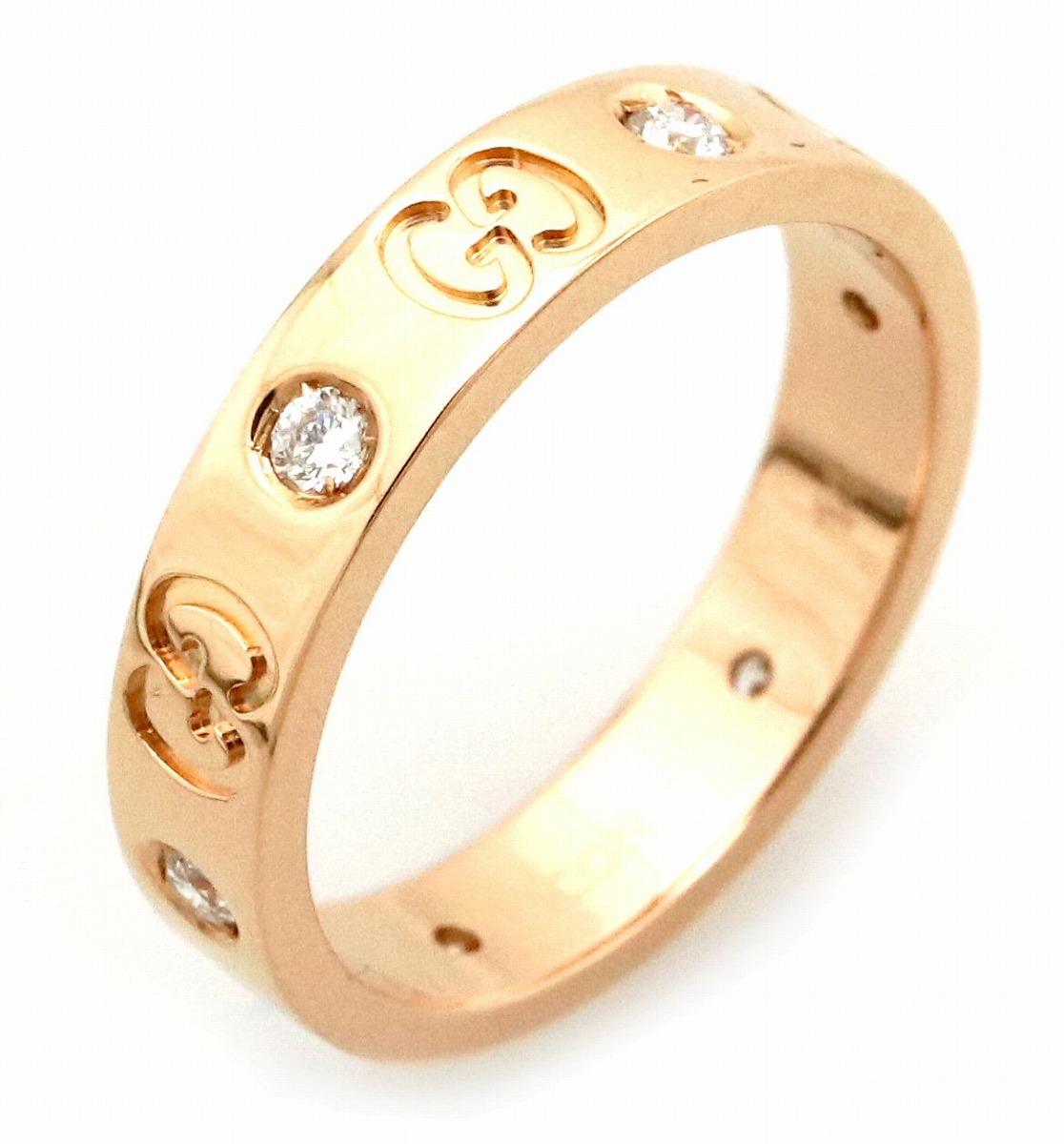 【ジュエリー】【新品仕上げ済】GUCCI グッチ アイコン リング 指輪 GGロゴ K18PG 750PG ピンクゴールド ダイヤモンド 6Pダイヤ #14 14号 【中古】