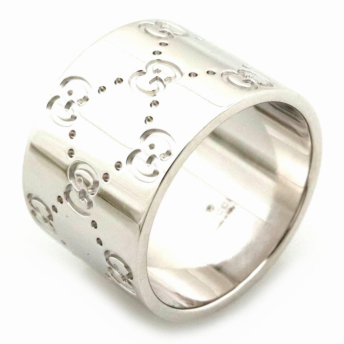 【ジュエリー】【新品仕上げ済】GUCCI グッチ アイコンリング ワイド メンズ GGリング 指輪 K18WG 750WG ホワイトゴールド 17号 #17 【中古】