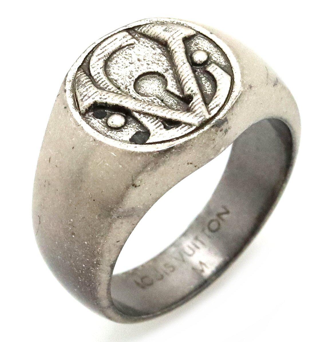 LOUIS VUITTON ルイ ヴィトン ロゴ リング 指輪 シルバー色 #20 20号 M 【中古】