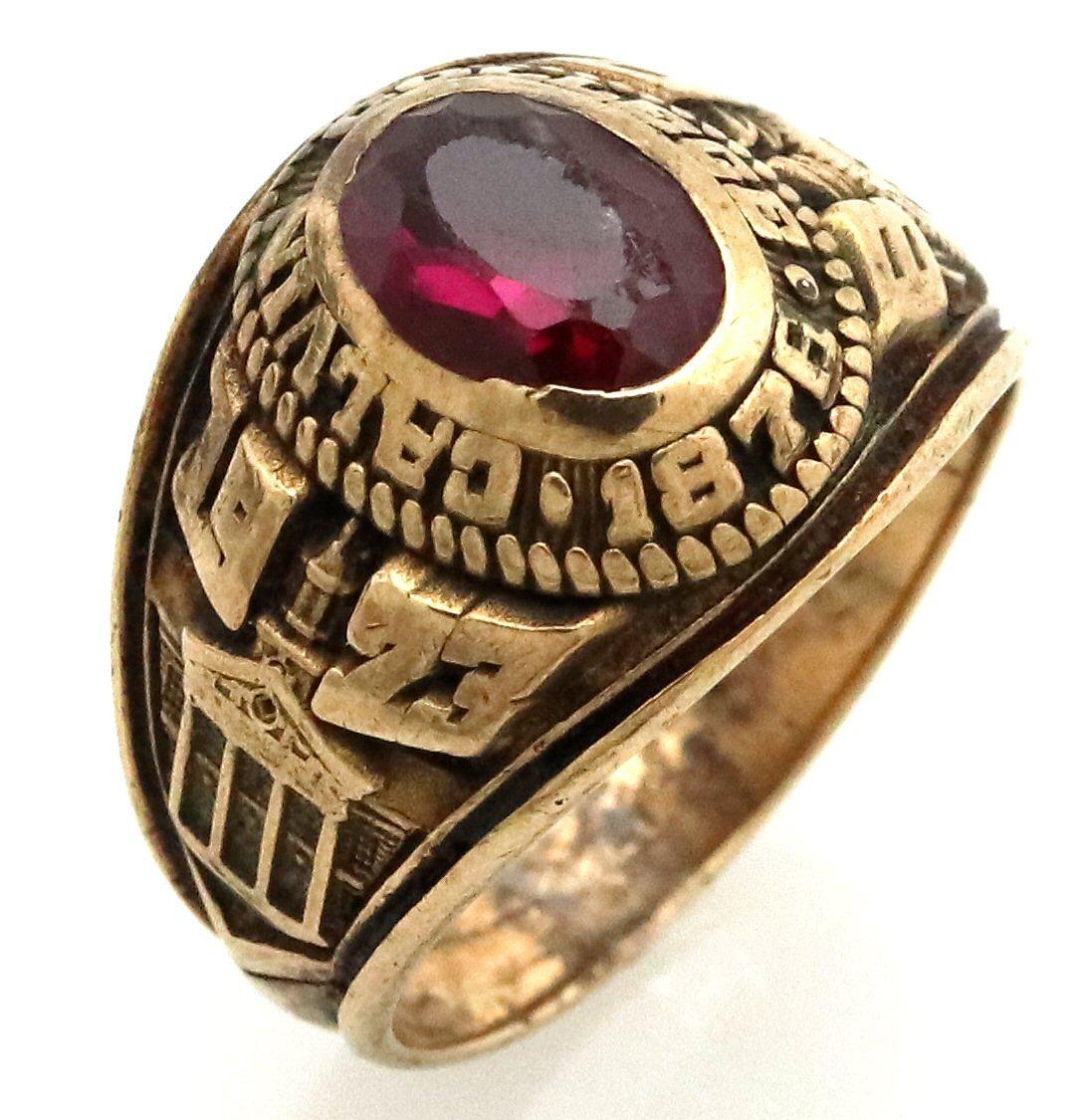 【ジュエリー】カレッジリング CALVIN COLLEGE 1876 K10YG イエローゴールド 色石 レッド 赤 リング 指輪 #14 14号 【中古】