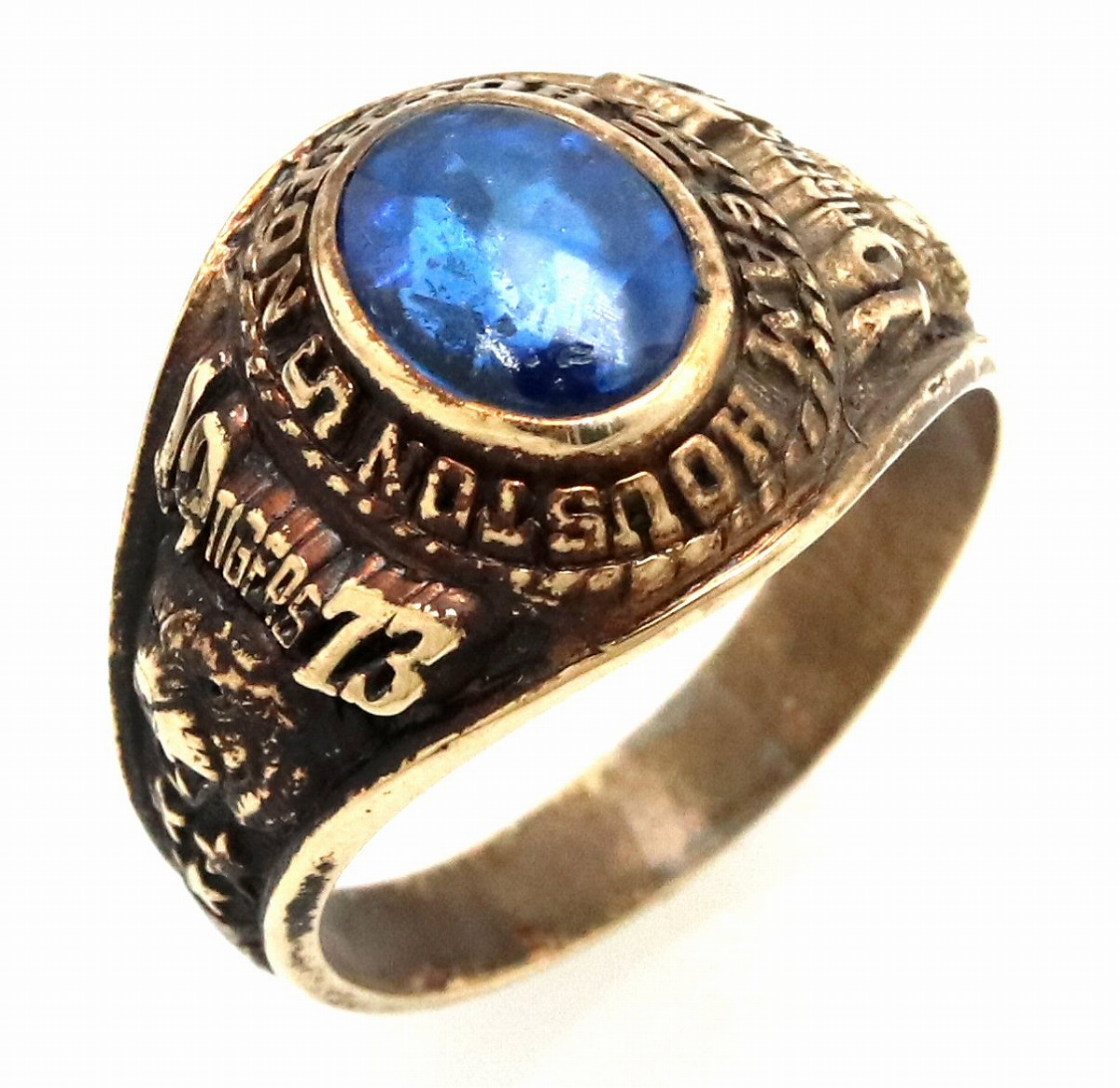 【ジュエリー】カレッジリング HOUSTON SAM HOUSTON TIGERS 1973 K10YG イエローゴールド 色石 ブルー 青 リング 指輪 #13 13号 【中古】