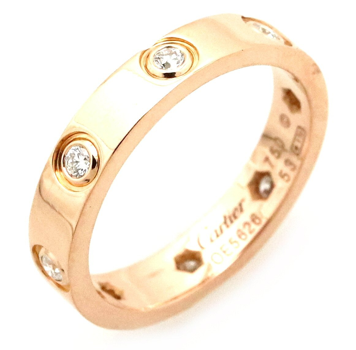 【ジュエリー】【新品仕上げ済】Cartier カルティエ LOVE ミニラブリング ウエディングリング 指輪 13号 #53 フルダイヤ 8PD ダイヤモンド K18PG ピンクゴールド B4050800 【中古】