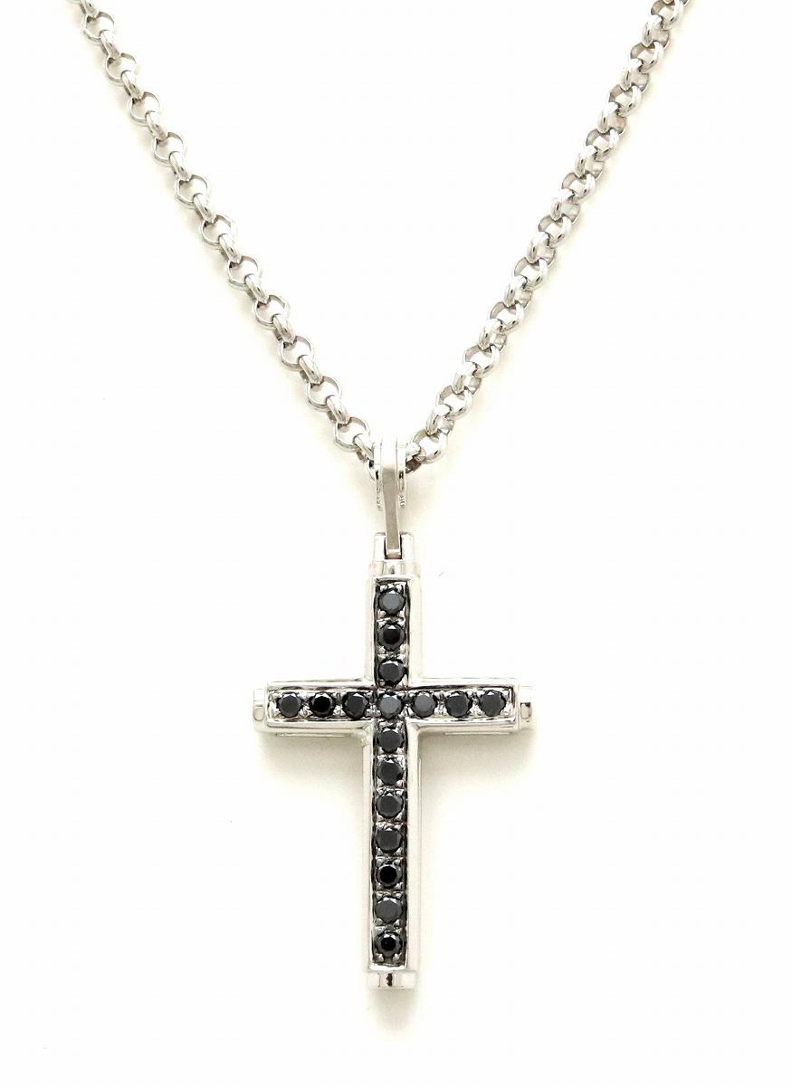 【ジュエリー】【新品仕上げ済】クロス ネックレス ペンダント 十字架 ブラックダイヤ ダイヤモンド K18WG 750 WG ホワイトゴールド 【中古】