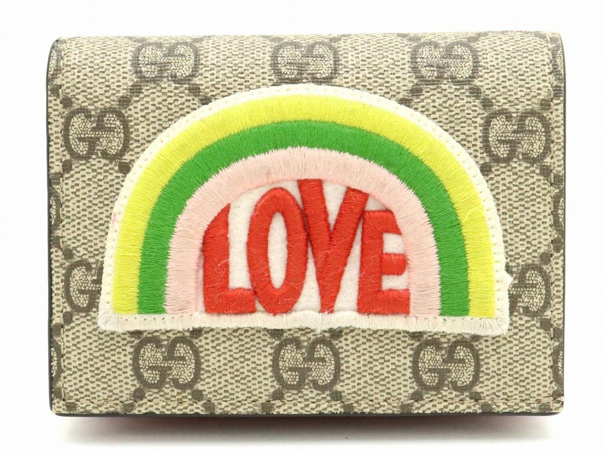 【財布】GUCCI グッチ GGスプリーム ハーフウォレット 2つ折財布 レインボー LOVE 刺繍 PVC レザー カーキベージュ マルチカラー 476412 493075 【中古】