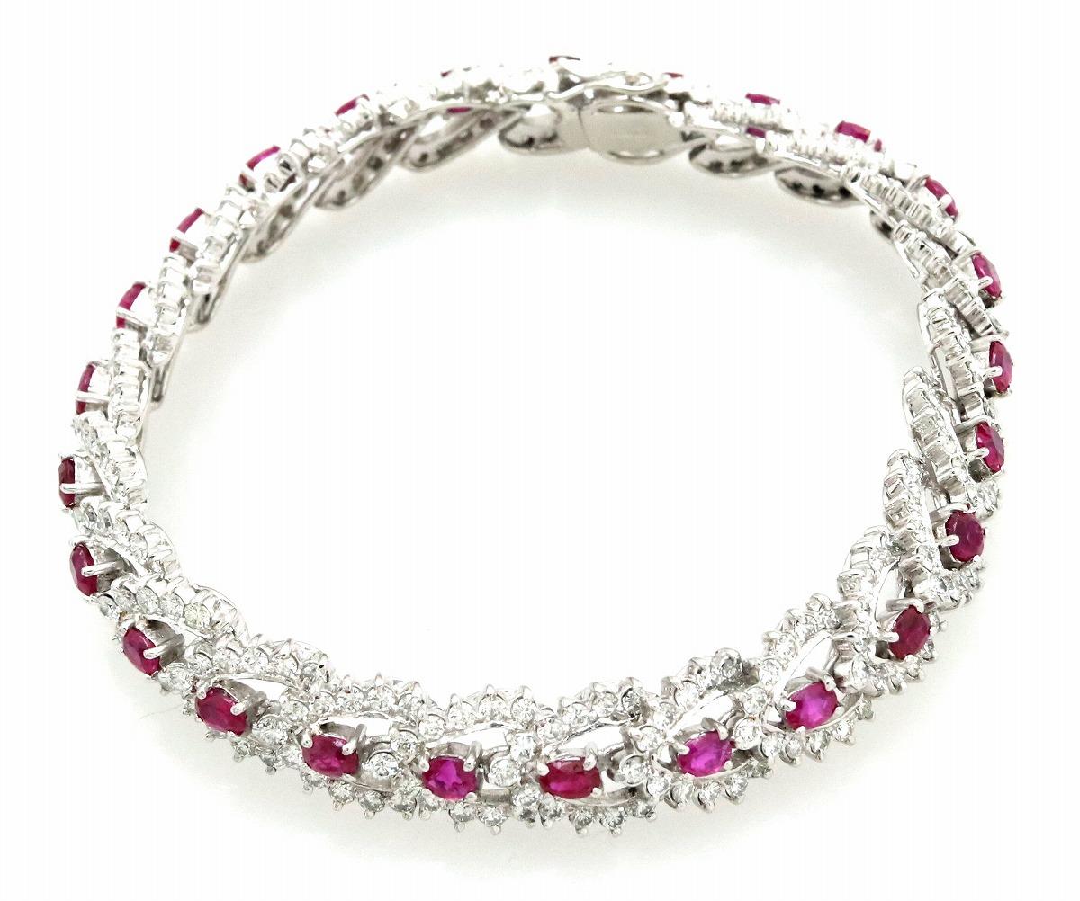 【新品仕上げ済】ダイヤモンド ルビー ブレスレット Pt900 ダイヤモンド 5.50ct ルビー 3.70ct 【中古】