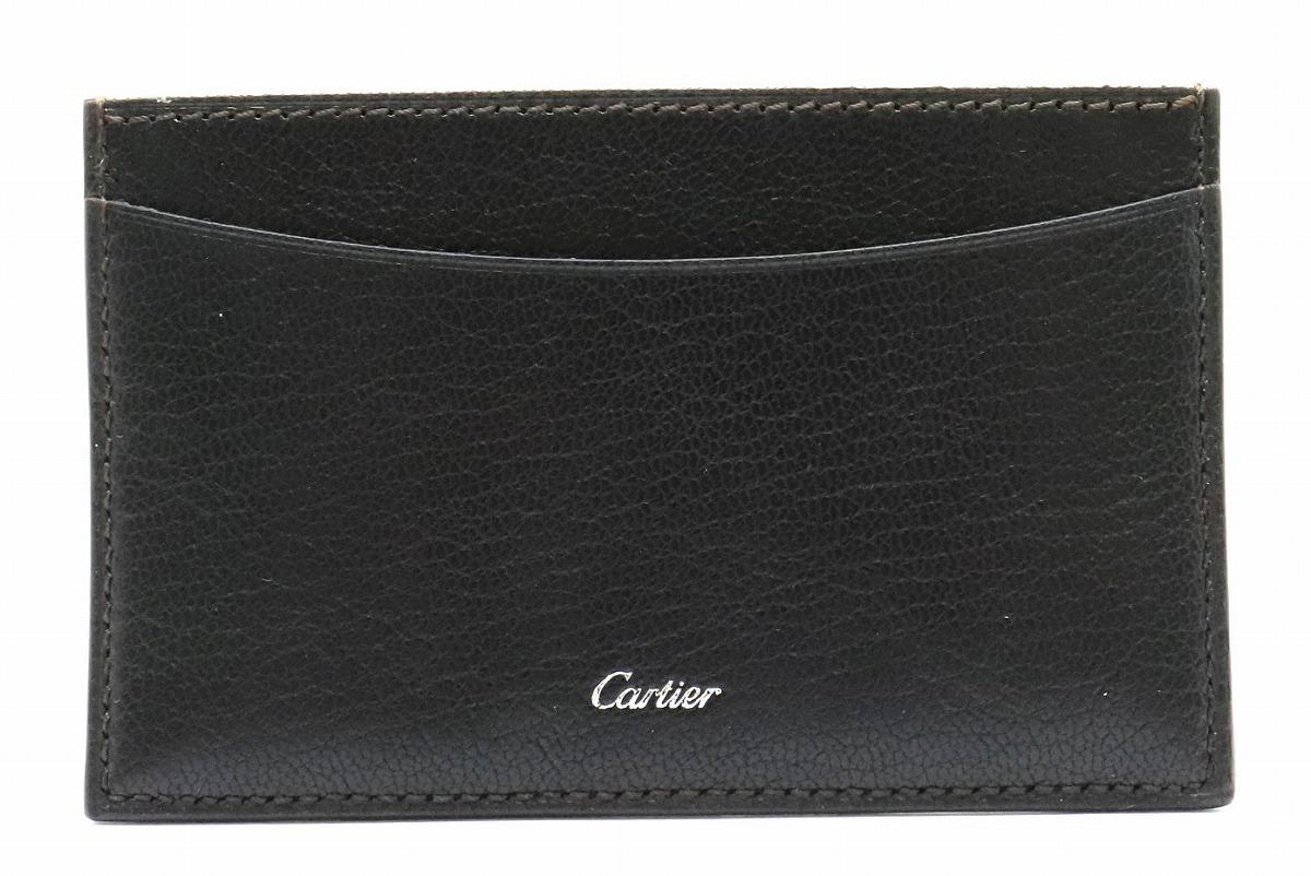 Cartier カルティエ マスト カードケース 名刺入れ レザー ゴートスキン 茶 ダークブラウン L3001043 【中古】