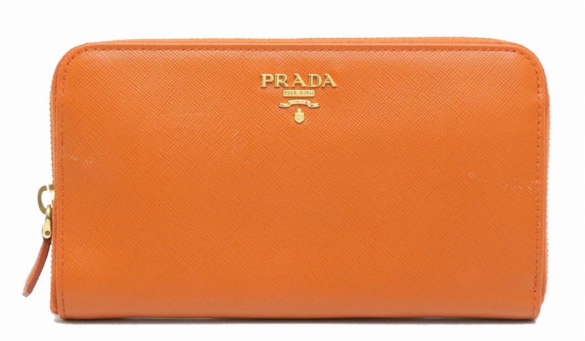 【財布】PRADA プラダ SAFFIANO METAL ラウンドファスナー 長財布 レザー PAPAYA オレンジ 海外ブティック購入品 1M0506 【中古】