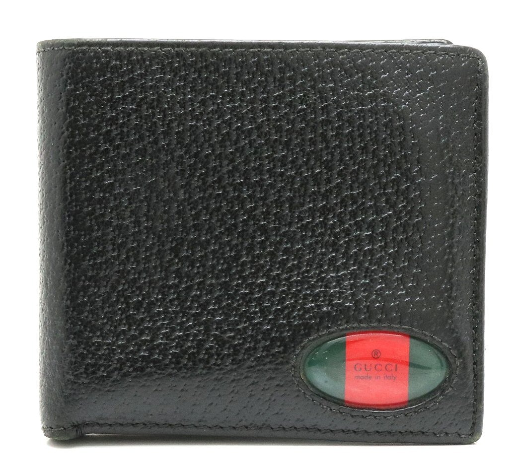 【財布】GUCCI グッチ シェリーライン 2つ折財布 レザー ブラック レッド グリーン 【中古】
