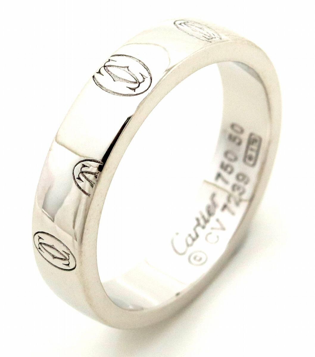 【ジュエリー】【新品仕上げ済み】Cartier カルティエ ハッピーバースデー ハッピーバースデイ ウェディング リング 指輪 10号 #50 K18WG ホワイトゴールド B4050952 【中古】