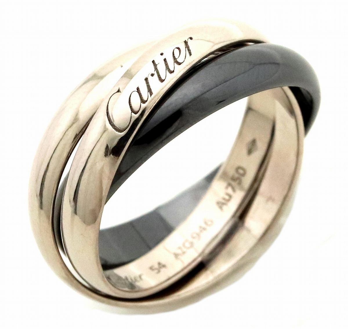 【ジュエリー】【新品仕上げ済】Cartier カルティエ トリニティ ドゥ カルティエ リング クラシックセラミック K18WG ホワイトゴールド セラミック #54 14号 【中古】