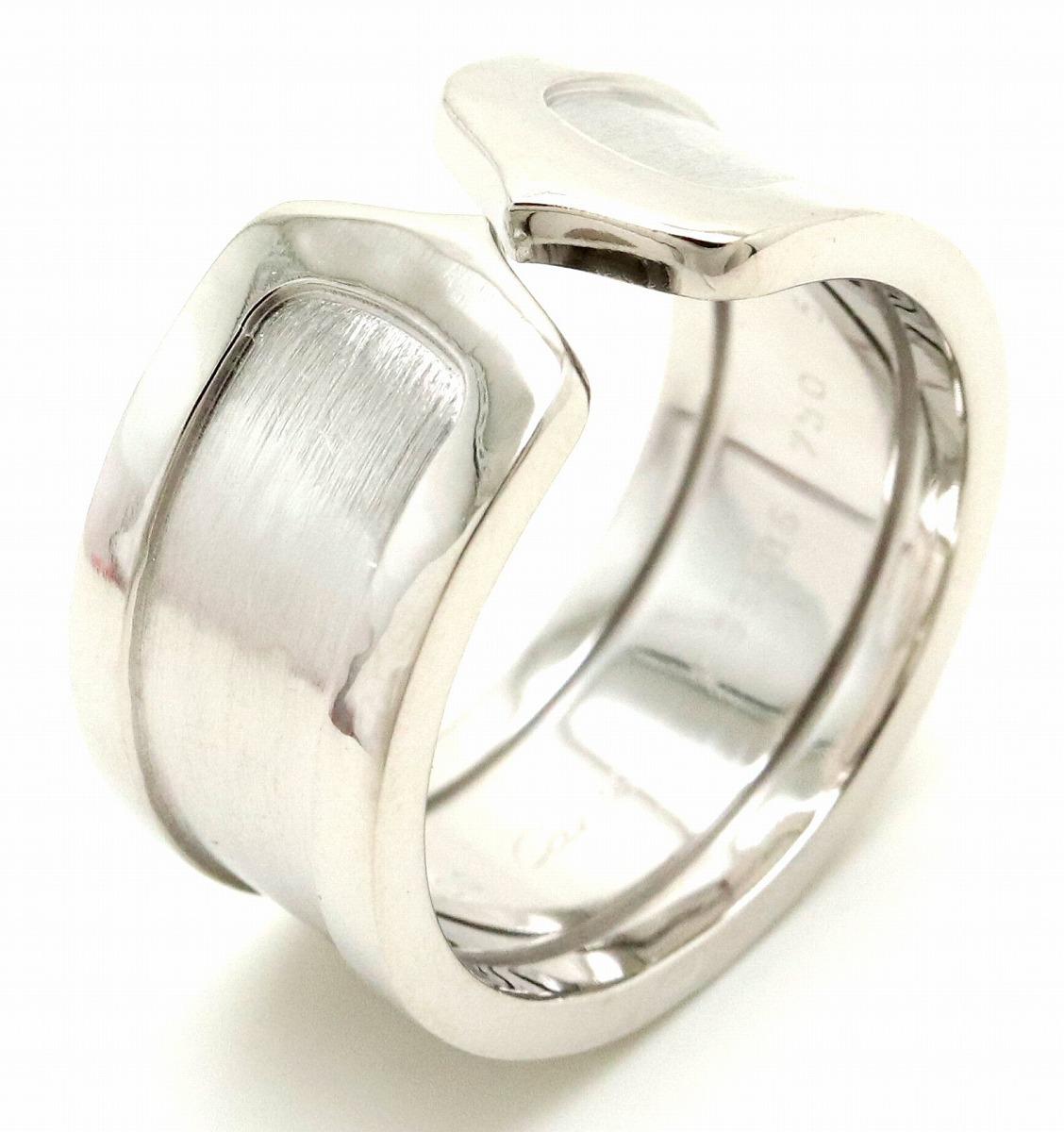 【ジュエリー】【新品仕上げ済】Cartier カルティエ 2C モチーフ リング 指輪 K18WG 750WG ホワイトゴールド C2 ワイド 17号 #57 【中古】