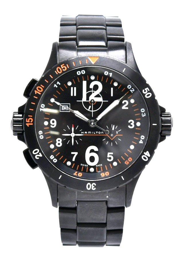 【ウォッチ】HAMILTON ハミルトン カーキ エアークロノ デイト ブラック文字盤 SS クォーツ メンズ 腕時計 H745920 【中古】