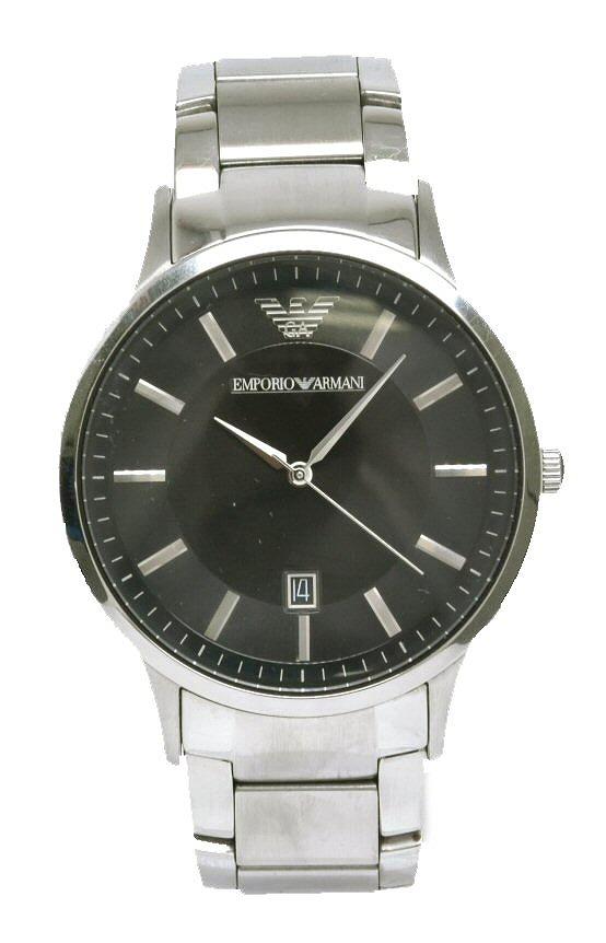 【ウォッチ】EMPORIO ARMANI エンポリオ アルマーニ デイト ブラック文字盤 SS クォーツ メンズ 腕時計 AR-2457 AR2457 【中古】