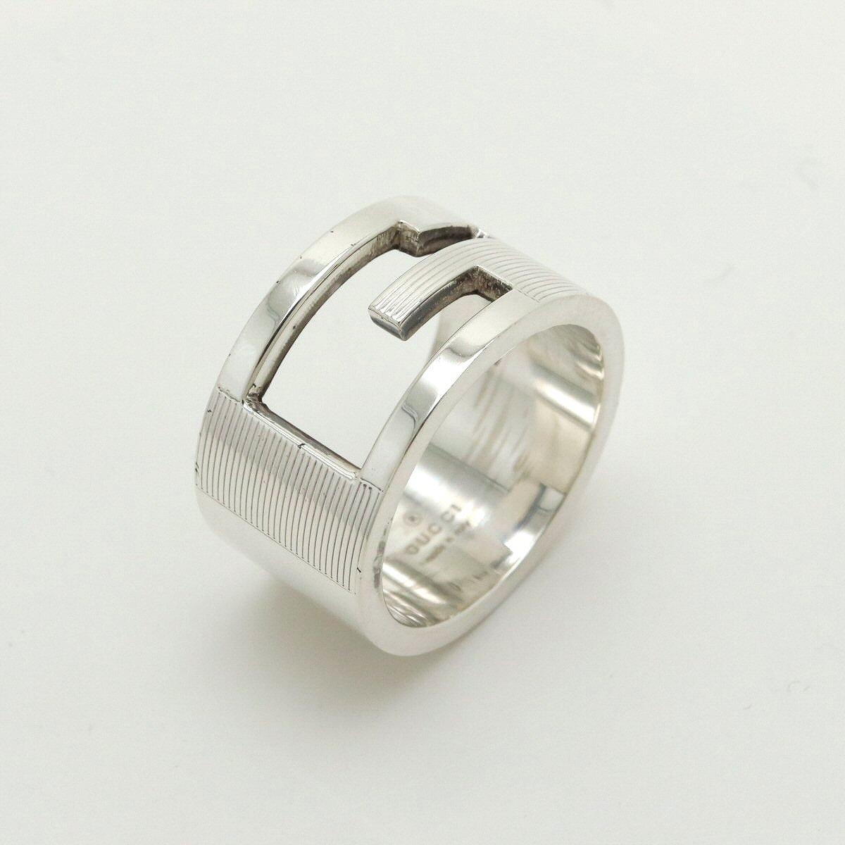 【新品仕上げ済】【ジュエリー】GUCCI グッチ ブランデッドG リング オープンGリング 指輪 SV925 シルバー 16号 #16 【中古】