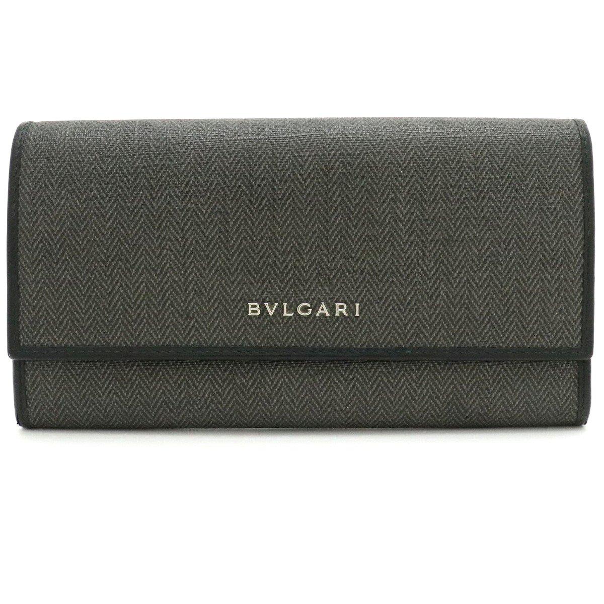 【財布】BVLGARI ブルガリ ウィークエンド 2つ折長財布 レザー PVC 黒 ブラック グレー 32585 【中古】