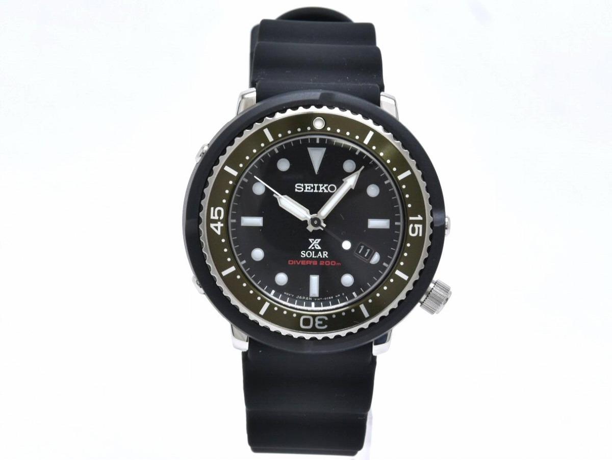 【新品未使用品】【ウォッチ】SEIKO セイコー PROSPEX プロスペックス ダイバーズ 200m デイト ブラック文字盤 メンズ ソーラー 腕時計 V147-0AZ0 SBND017