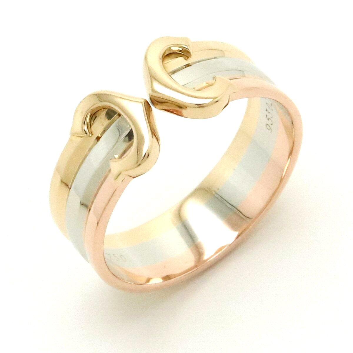 【ジュエリー】【新品仕上げ済】Cartier カルティエ 2C トリニティ リング 指輪 K18 スリーカラー スリーゴールド イエロー ピンク ホワイト 3カラー C2 11号 #51 【中古】