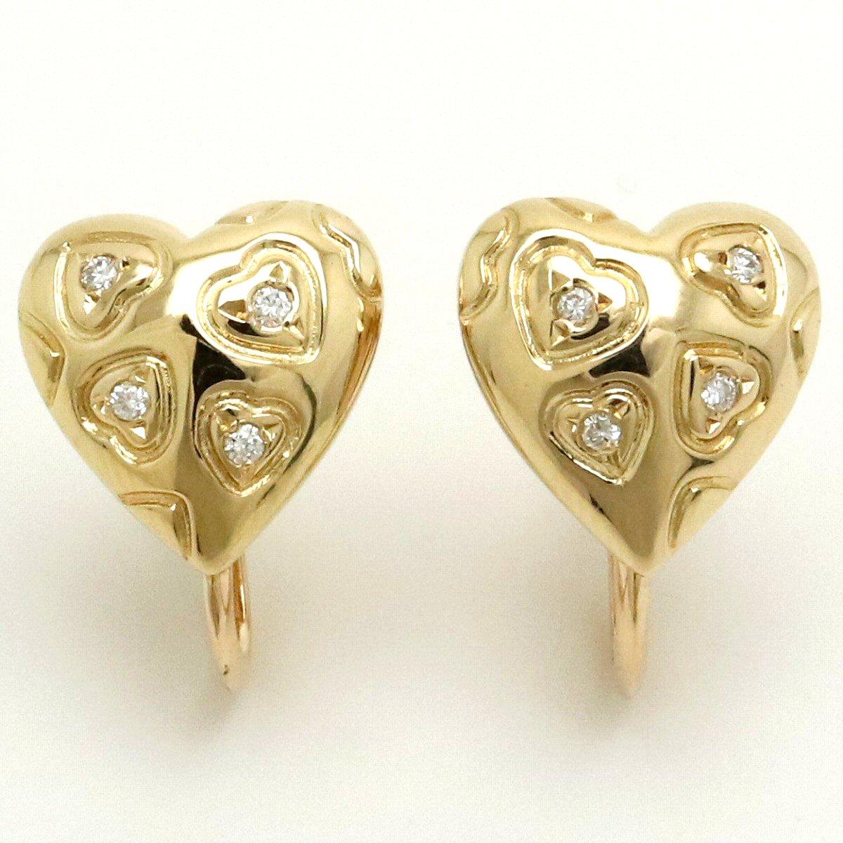 【ジュエリー】MIKIMOTO ミキモト ハート イヤリング ダイヤモンド 0.04ct K18YG イエローゴールド 【中古】