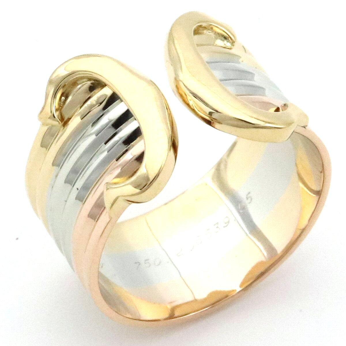 【ジュエリー】Cartier カルティエ 2C トリニティ リング 指輪 K18 スリーカラー スリーゴールド イエロー ピンク ホワイト 3カラー C2 12号 #55 【中古】