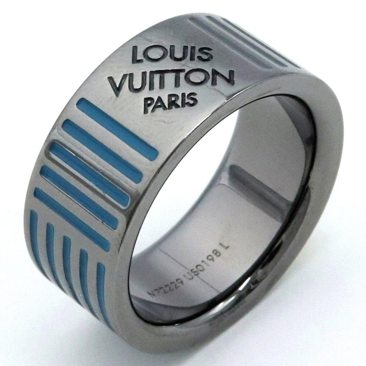 【ジュエリー】LOUIS VUITTON ルイ ヴィトン リング バーグ ダミエ カラーズ 指輪 21号 #21 Lサイズ 青 ブルー 黄 イエロー 灰 グレー シルバーカラー MP2229 【中古】