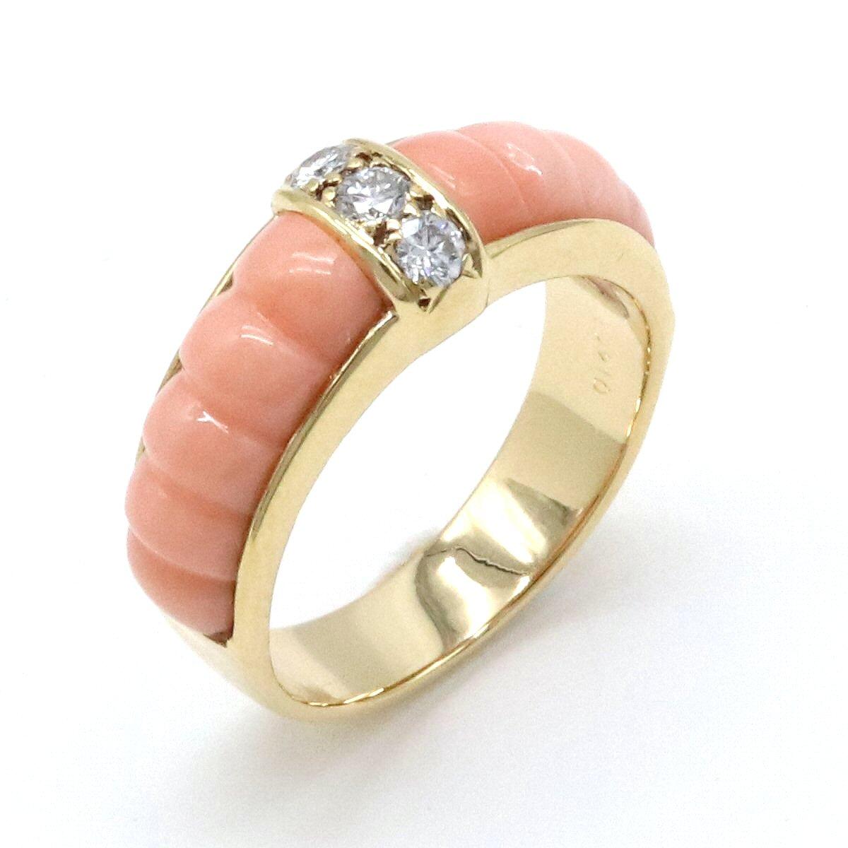 【ジュエリー】【メーカー仕上げ済】Van Cleef & Arpels ヴァン クリーフ & アーペル VCA サンゴ リング リング K18 ダイヤモンド ヴァンクリ #9 49 【中古】