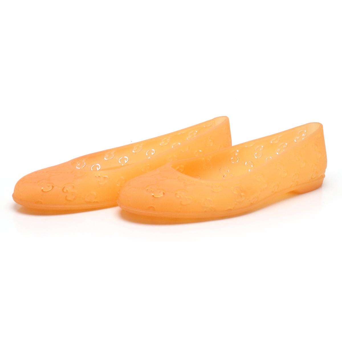 【靴】GUCCI グッチ GG柄 パンプス ラバーシューズ フラットシューズ バレエシューズ パンチング オレンジ サイズ35 【中古】
