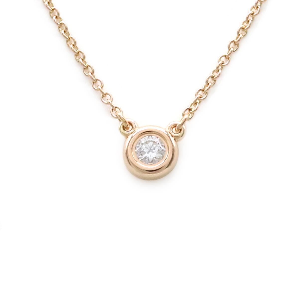 【ジュエリー】【新品仕上げ済】TIFFANY&Co. ティファニー バイザヤード ネックレス K18PG ピンクゴールド PG 1PD ダイヤモンド 0.10ct 【中古】