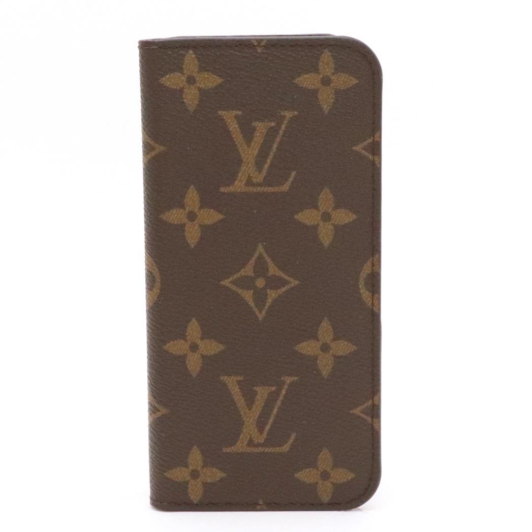 LOUIS VUITTON ルイ ヴィトン モノグラム iPhone7 iPhone8 フォリオ アイフォンケース スマホケース カバー マロン イニシャル入り M61905 【中古】