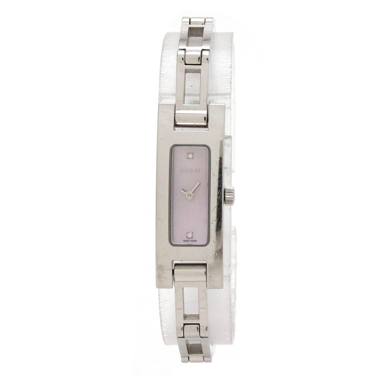 【ウォッチ】GUCCI グッチ ピンクシェル文字盤 2Pダイヤ SS レディース QZ クォーツ 腕時計 3900L 【中古】
