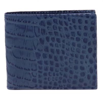 【未使用品】【財布】Paul Smith ポール スミス ポールスミス 二つ折り財布 2つ折り クロコ調 マルチストライプ 型押しレザー ブルー 青 マルチカラー 【中古】