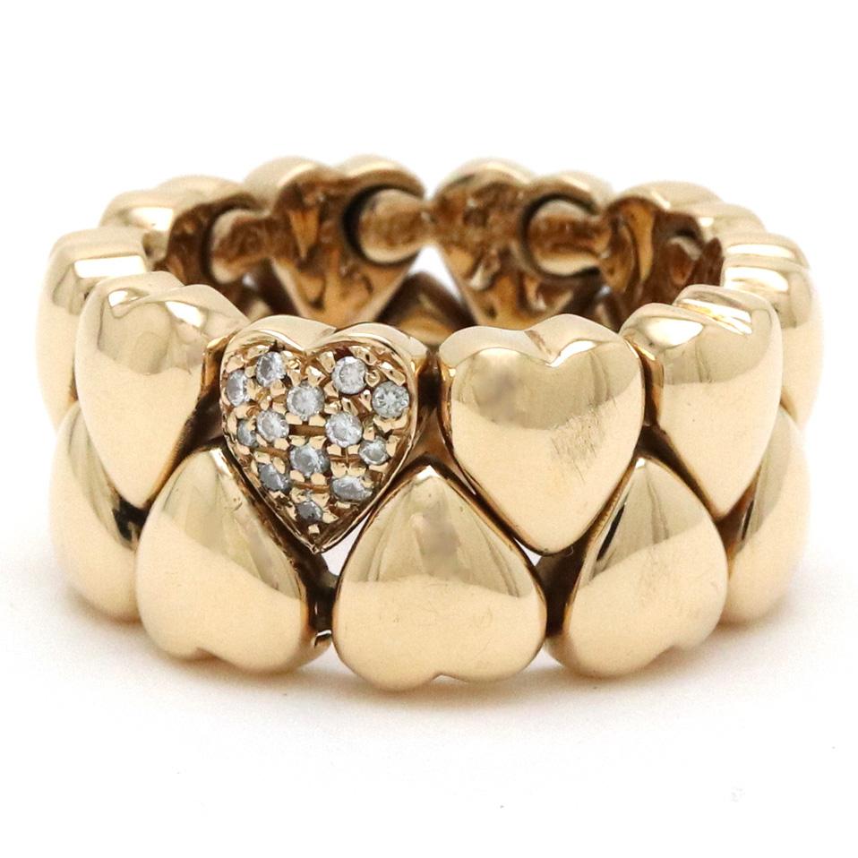 【ジュエリー】【新品仕上げ済】Cartier カルティエ ダブルハート ダイヤモンド 13P リング 指輪 K18YG 750YG イエローゴールド #56 16号 【中古】