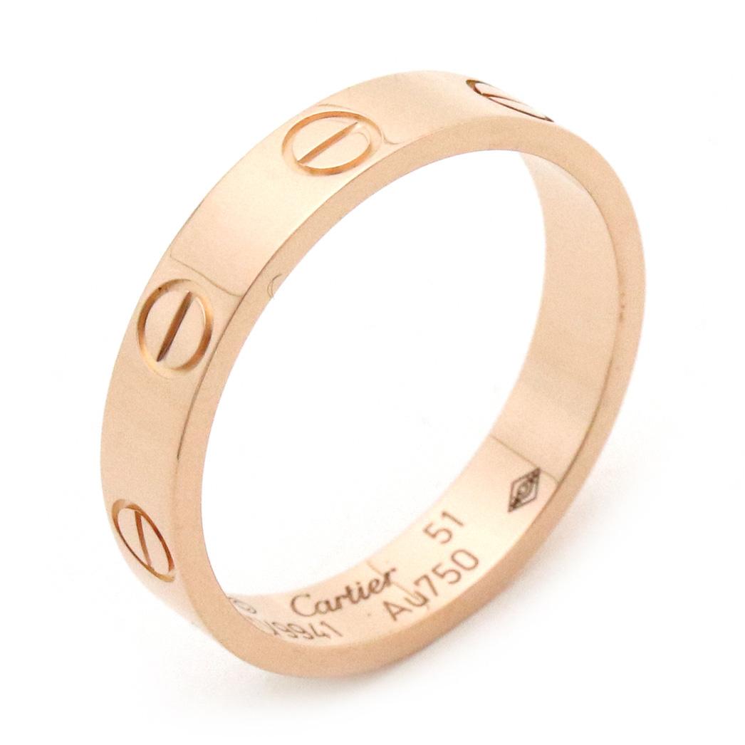 【ジュエリー】【新品仕上げ済】Cartier カルティエ ミニラブリング 指輪 ウエディングリング K18PG ピンクゴールド ♯51 11号 B4085200 【中古】