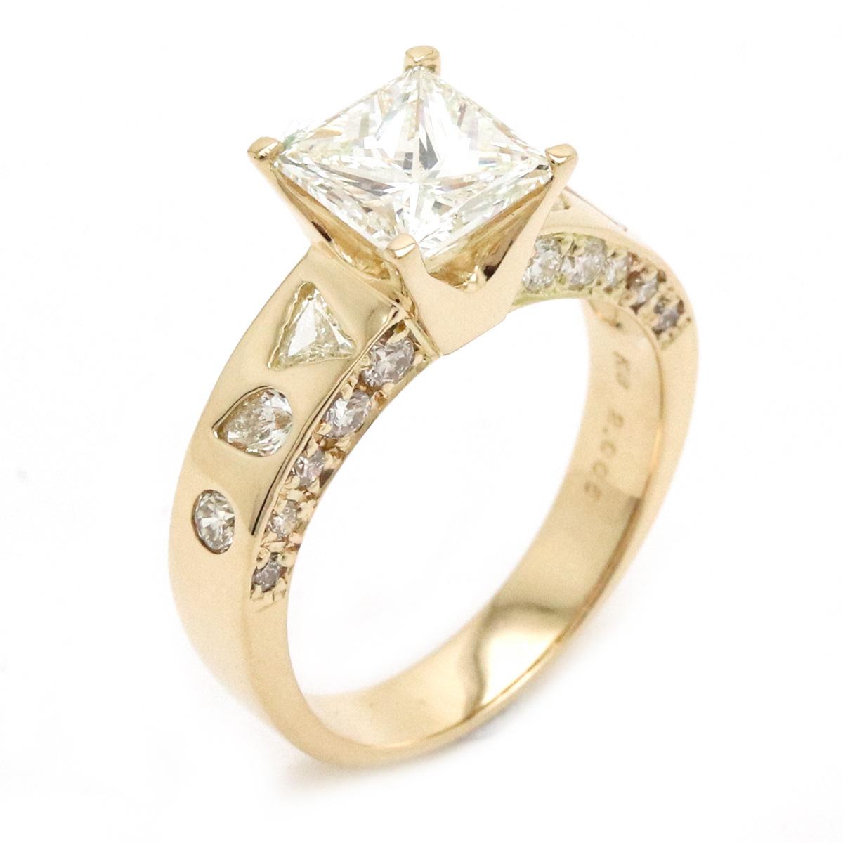 【ジュエリー】【新品仕上げ済み】ダイヤモンド リング 指輪 プリンセスカット 2.005ct 1.00ct K18YG 750YG 15号#55 【中古】