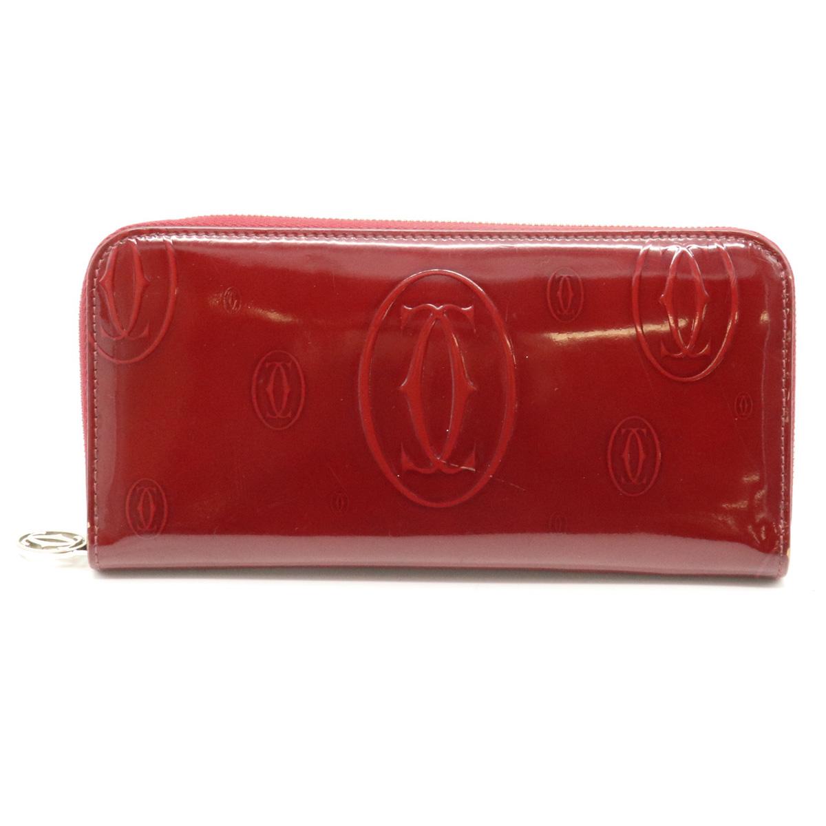 【財布】Cartier カルティエ ハッピーバースデー ハッピーバースデイ ラウンドファスナー長財布 エナメル レザー ボルドー 赤 L3001283 【中古】