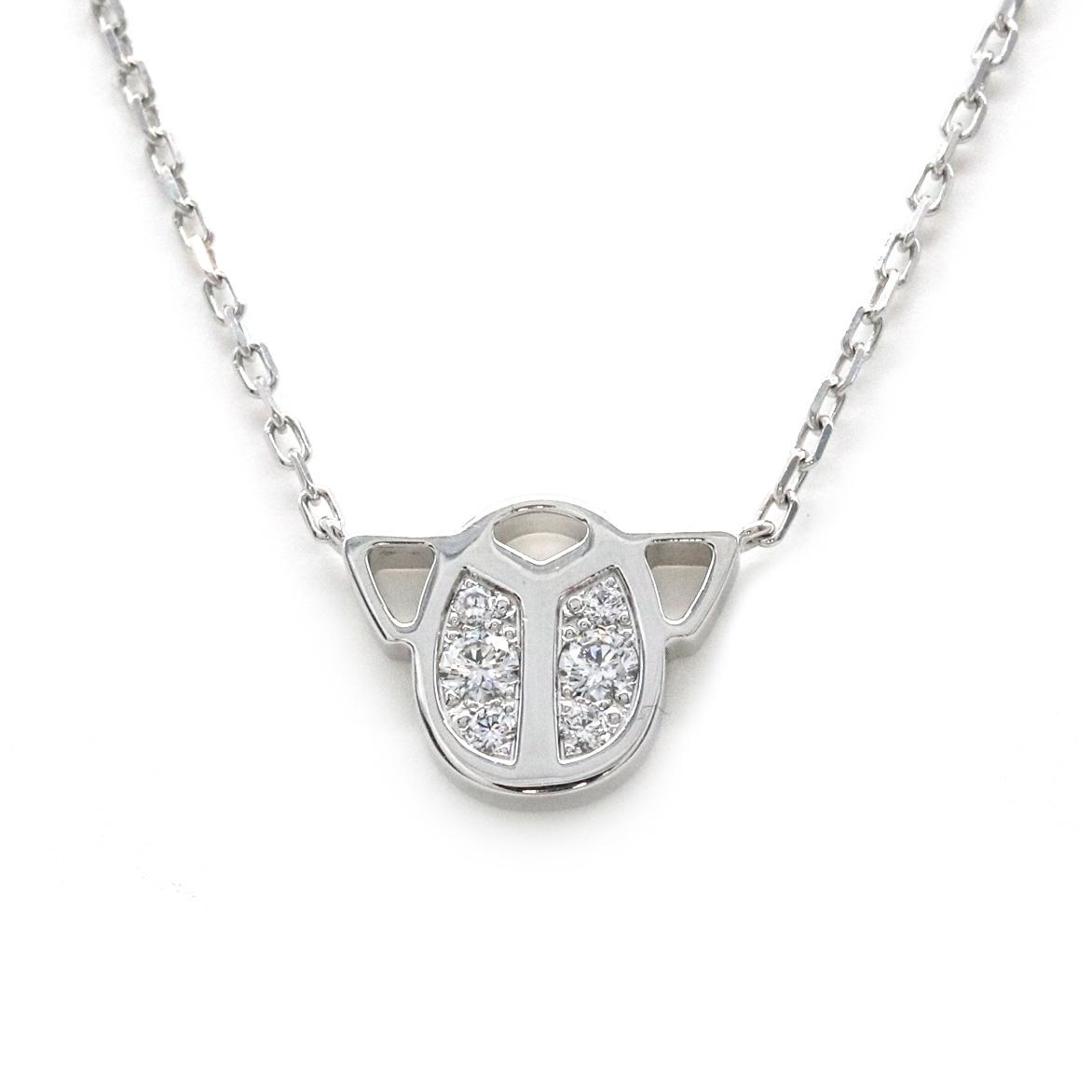 【ジュエリー】【新品仕上げ済】Cartier カルティエ スカラベ ダイヤモンド ネックレス 6P ダイヤ K18WG ホワイトゴールド 【中古】
