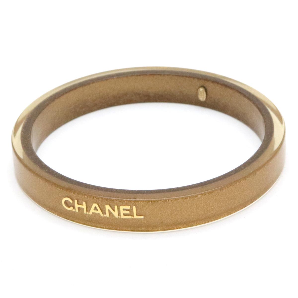 【ジュエリー】CHANEL シャネル ココマーク バングル ロゴ ブレスレット ゴールド ラメ クリア プラスチック 01 C 【中古】