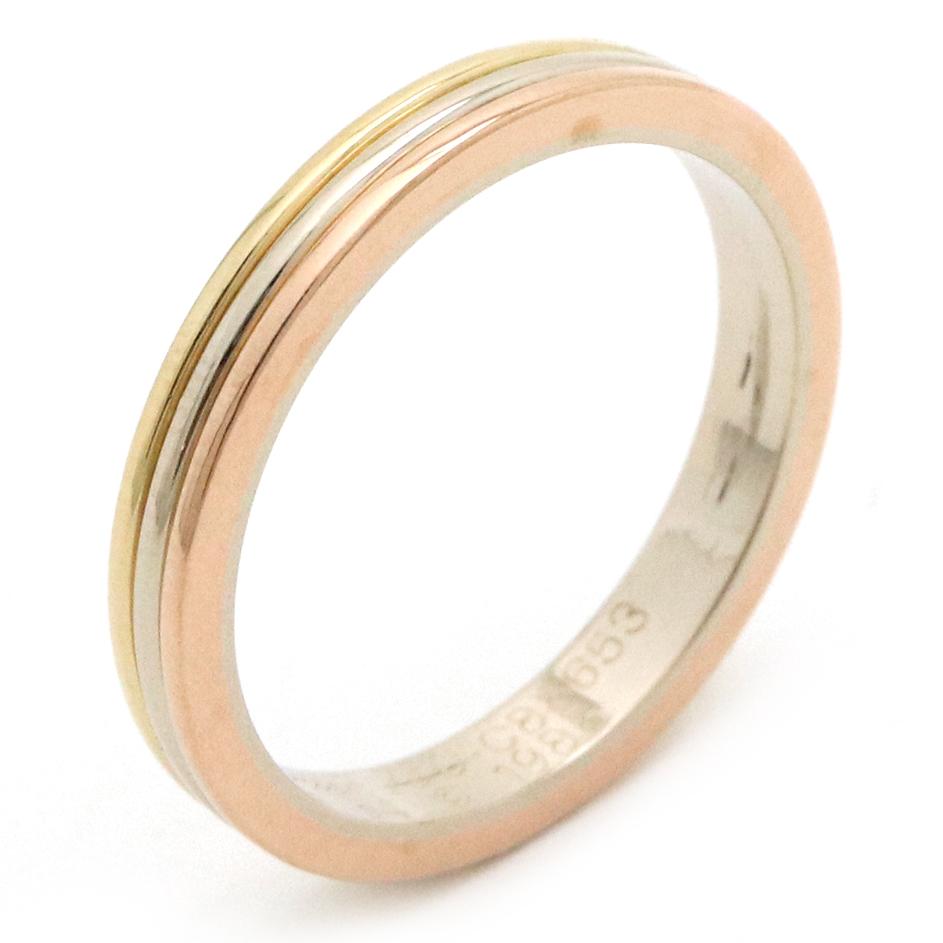 【ジュエリー】【新品仕上げ済】Cartier カルティエ トリニティ スリーカラーゴールド ウエディング バンドリング 指輪 K18 750 YG WG PG 14号 #54 【中古】