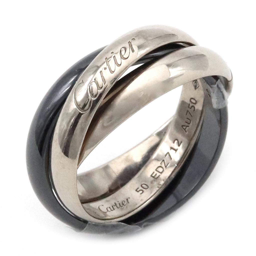 【ジュエリー】【新品仕上げ済】Cartier カルティエ トリニティ クラシック セラミック リング 指輪 K18WG ホワイトゴールド ブラックセラミック 10号 #50 B4095600 【中古】