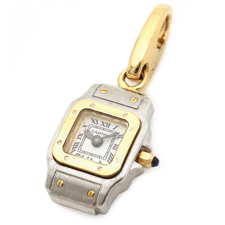 【ジュエリー】【新品仕上げ済】Cartier カルティエ サントスガルベ チャーム ペンダントヘッド 時計モチーフ K18YG/WG イエローゴールド ホワイトゴールド 【中古】
