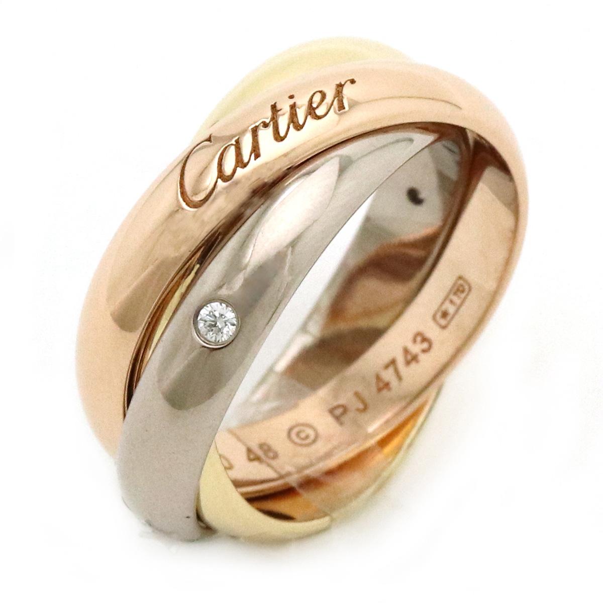 【ジュエリー】【新品仕上げ済】Cartier カルティエ トリニティ SM 5Pダイヤ リング 3連 スリーカラー K18 750 YG WG PG イエロー ホワイト ピンク ゴールド 8号 #48 B4088500 【中古】