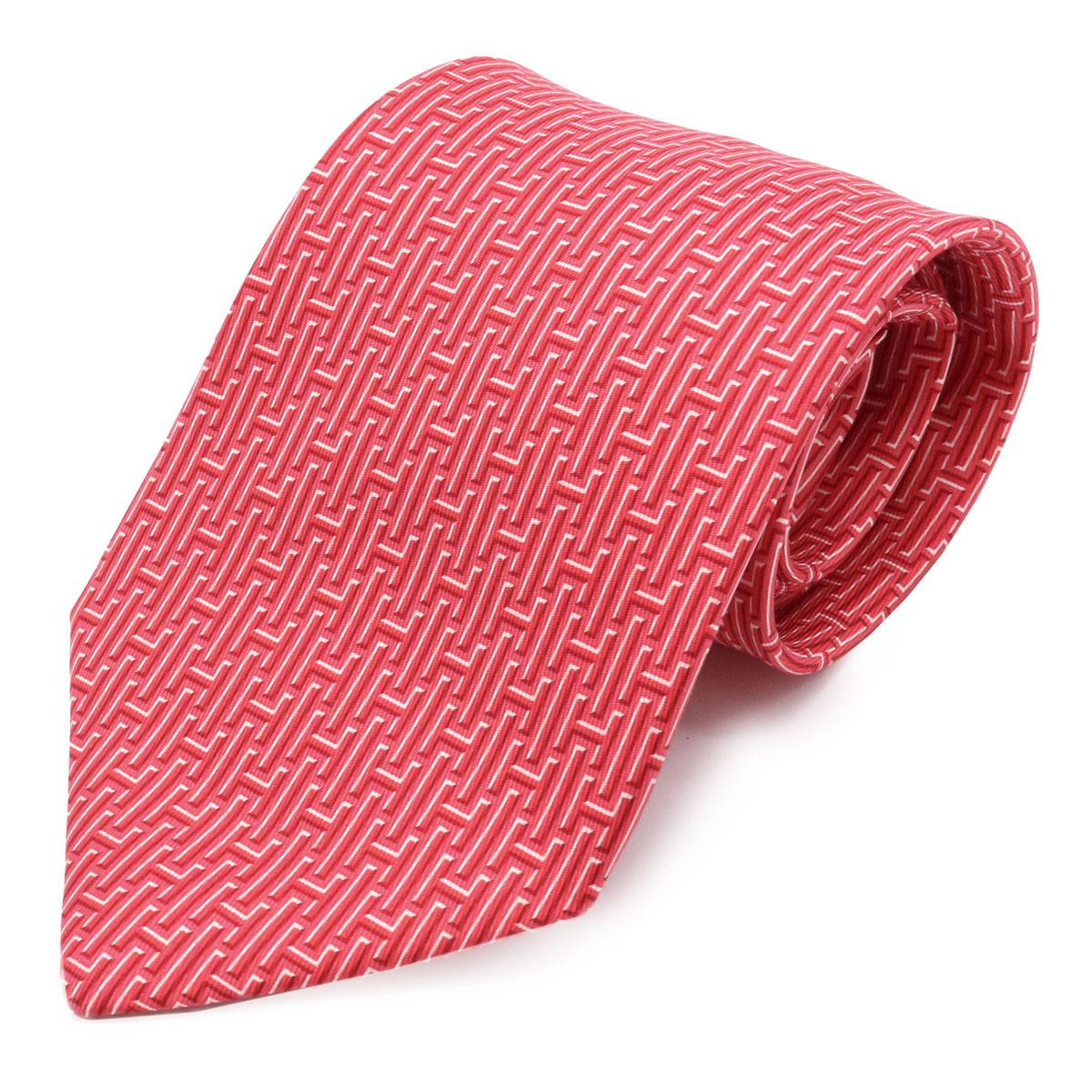 【新品未使用品】HERMES エルメス ネクタイ Hロゴ シルク100% レッド 赤 ピンク ホワイト 白