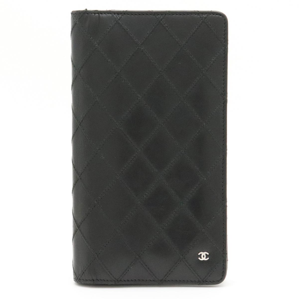 【財布】CHANEL シャネル ビコローレ ココマーク 2つ折長財布 二つ折長財布 レザー 黒 ブラック シルバー金具 【中古】