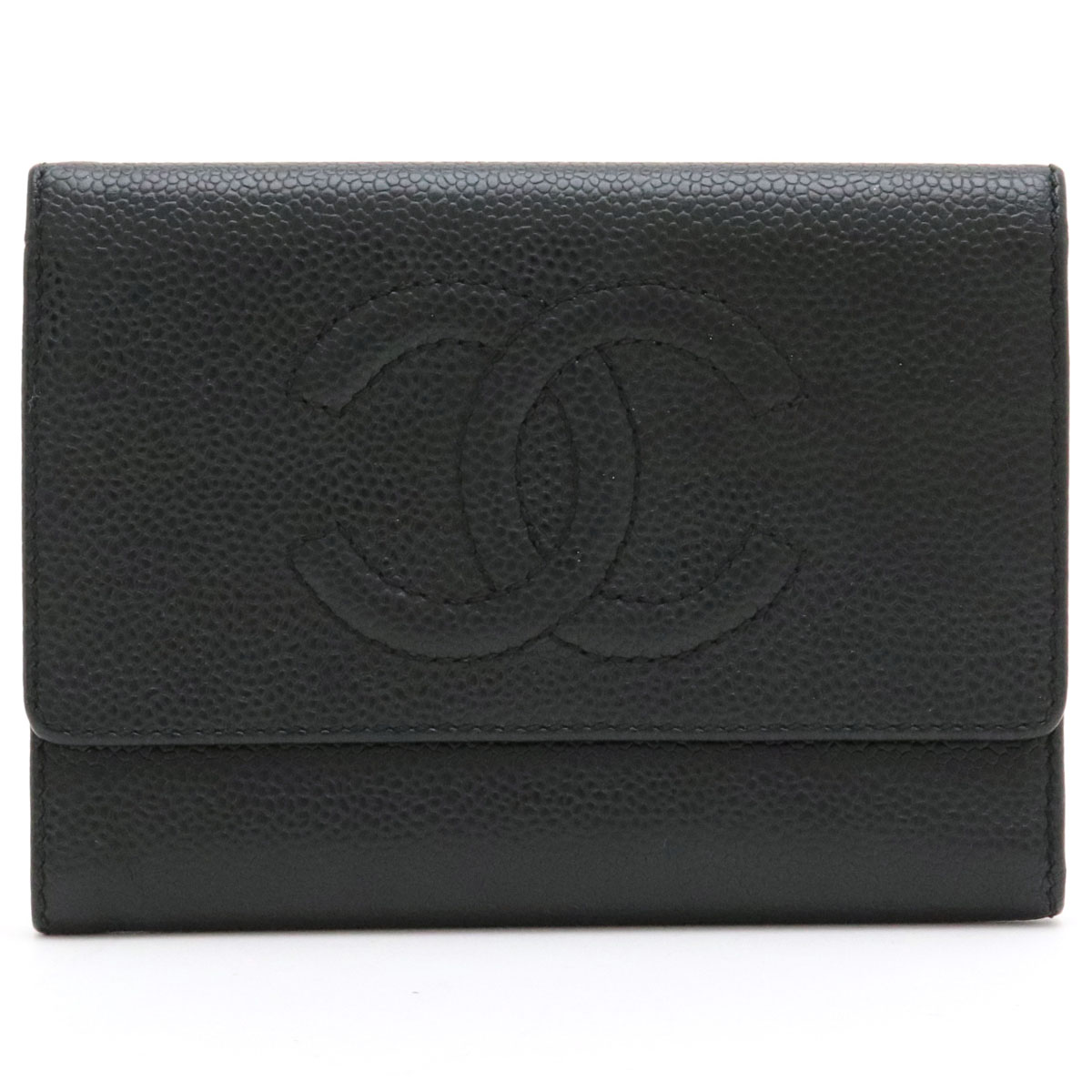 【財布】CHANEL シャネル キャビアスキン ココマーク 3つ折財布 三つ折り財布 型押しレザー ブラック 黒 ゴールド金具 【中古】
