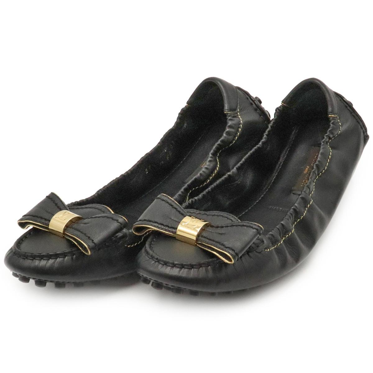 【未使用品】【靴】LOUIS VUITTON ルイ ヴィトン ドライビングシューズ フラット バレエシューズ リボン レザー ブラック 黒 サイズ#37 1/2 24.5cm 【中古】