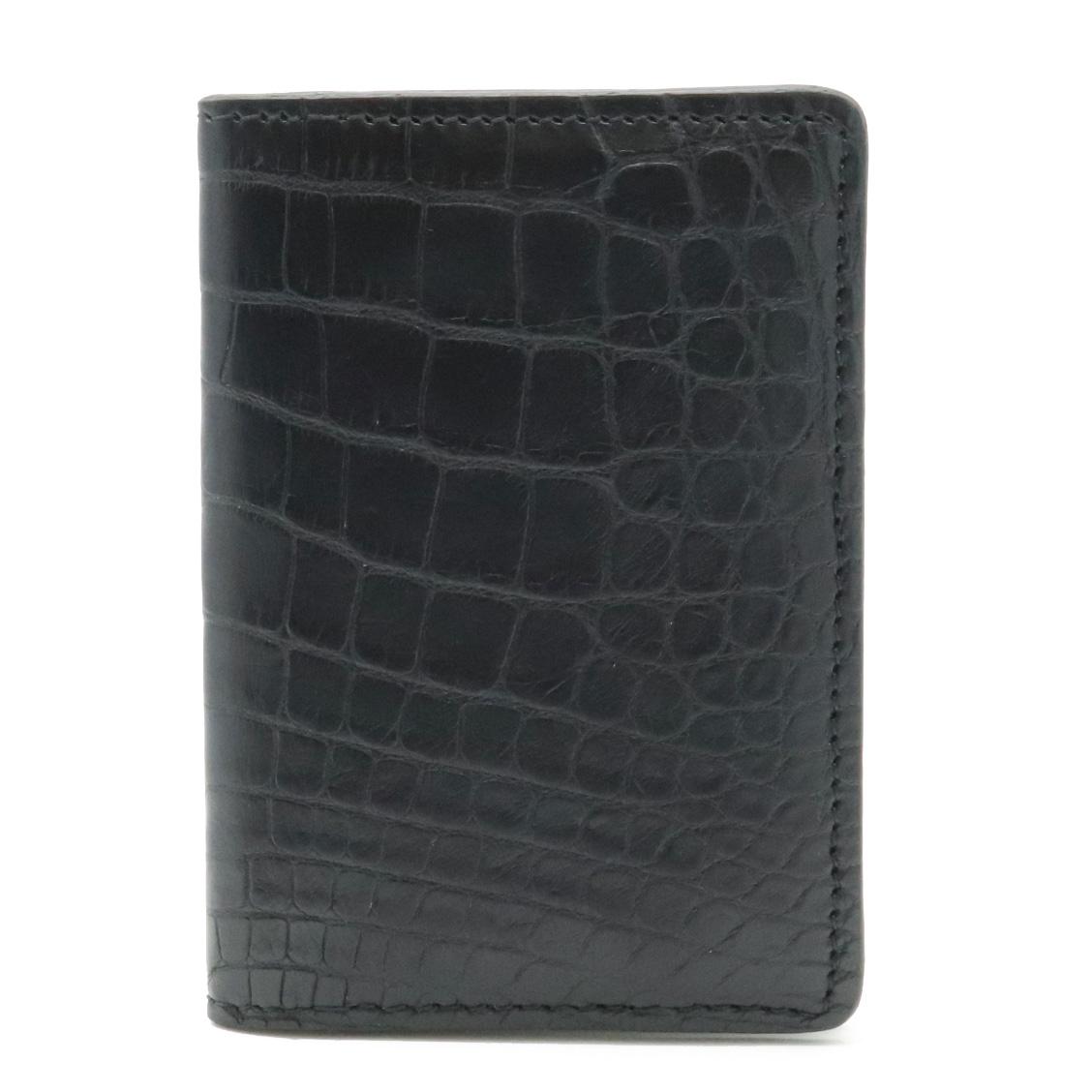 LOUIS VUITTON ルイ ヴィトン エキゾチック ポケット オーガナイザー カードケース パスケース クロコダイル マット ノワール 黒 N91552 【中古】