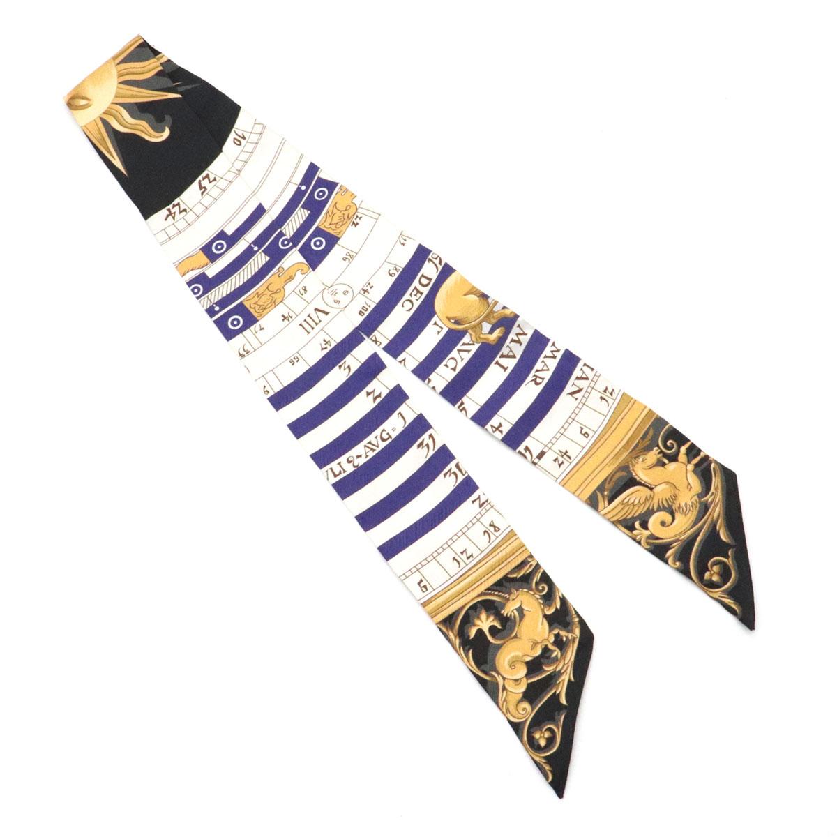 【未使用品】【アパレル】HERMES エルメス ツイリー スカーフ バッグスカーフ バッグアクセサリー ヘアアクセサリー シルク100% ブラック系マルチカラー  【中古】